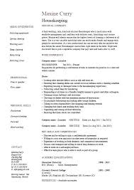 Company Resume Sample Cleaning Housekeeping Templates Job Description Maintenance Carpets Skills