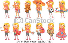 Baby Girl Stands In Same Pose Vector