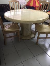 Fine Round Marble Dining Table With Free 4 Marble Chair ...
