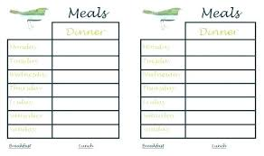 Dinner Menu Planner Template Family Meal Planning Templates Weekly Monthly Budget Tip With Regard Printable Free
