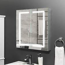 janboe spiegelschrank bad mit beleuchtung 60 cm breit mit infrarot sensor schalter antibeschlag pad für make up kosmetik 600 x 700 x 130 mm