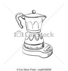 Doodle Coffee Maker Hand Drawing Style Excellent Vector