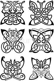 Celtic Tattoos Of Graceful Black Butterflies With Ornamental Wings Composed From Traditional Scandinavian Knot Patterns Isolated Background
