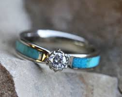 Turquoise Engagement Ring and Turquoise Wedding Band