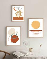 3er set boho style wandbilder poster wohnzimmer deko