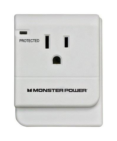 Monster 1 Outlet Surge Protection Outlet Wall Tap - Satin White, 15A, 120V