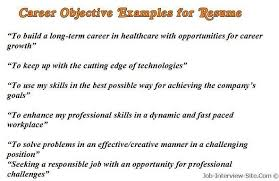 Career Objectives For Resumes Good Resume Objective Examples