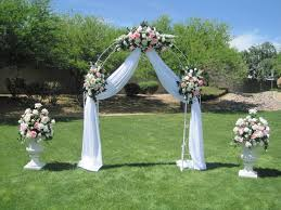 Elegant Rustic Wedding Arch Flowers Matched With Lovely White Curtains Decoration And Beuatiful Pink