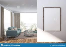 weißes wohnzimmer mit blauem sofa und plakat stock abbildung