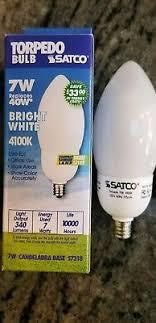 satco s7318 7 watt torpedo compact fluorescent bulb 4100k