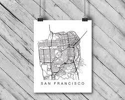 San Francisco Map Print California CA USA Art Poster City Street Road