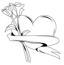 Valentine Heart With Roses Coloring Pages