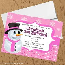 Snowman Winter Birthday Party Invitations-Pink | Crafty Chick Designs
