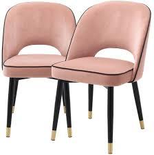 casa padrino luxus esszimmerstuhl set rosa schwarz messing 53 x 56 x h 84 cm esszimmerstühle mit edlem samtstoff esszimmer möbel