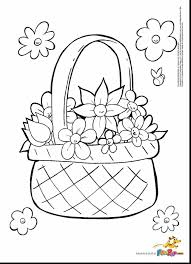 Beautiful Flower Basket Coloring Page Printable With March Pages And For Preschoolers