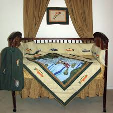 gone fishing brown and green country fish 6 piece crib bedding set