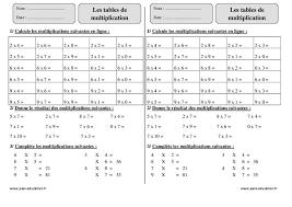 tables de multiplication ce2 exercices corrigés calcul