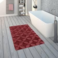 badematte kurzflor teppich für badezimmer rutschfest in rot