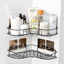 gukkk duschregal eckablage selbstklebender duschkorb ohne bohren duschablage edelstahl bad duschkorb für die küche u badezimmer 2 stück schwarz