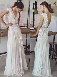 vintage lace beaded wedding dresses 2017 simple a line v neckline