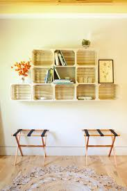 Hanging Bookshelf Hall Contemporary With Beams Books Country Crate Shelves Crates Guest Room Modern Rustic Storage
