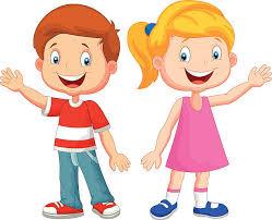 Cute children cartoon waving hand vector art illustration