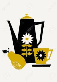 si e poire le style mi siècle illustration d un pot de café une tasse et une