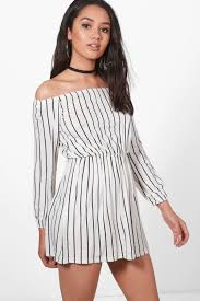 petite imogen stripe off the shoulder dress boohoo