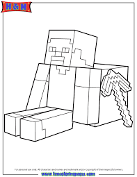 Steve Sitting With Minecraft Weapon Coloring Page