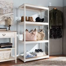 Baxton Simms Shoe Cabinet by Baxton Studio Cody White Metal 4 Shelf Multipurpose Shelving Rack