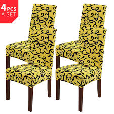 4Pcs Bright Yellow Plus Black Removable Stretch Slipcovers Short Dining  Stool Seat Chair Cover-4pc Sure Fit Ballad Bouquet Wing Chair Slipcover Ding Room Armchair Slipcovers Kitchen Interiors Subrtex Printed Leaf Stretchable Ding Room Yellow 2pcs Ektorp Tullsta Chair Cover Removable Seat Graffiti Pattern Stretch Cover 6pcs Spandex High Back Home Elastic Protector Red Black Gray Blue Gold Coffee Fortune Fabric Washable Slipcovers Set Of 4 Bright Eaging Accent And Ottoman Recling Queen Anne Wingback History Covers Best Stretchy Living Club For Shaped Fniture