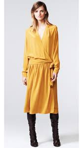 thakoon addition long sleeve wrap dress in yellow lyst