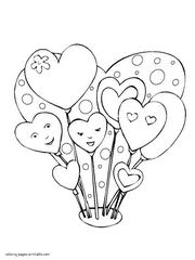 Cake And Hearts Heart Shaped Balloons Coloring Page