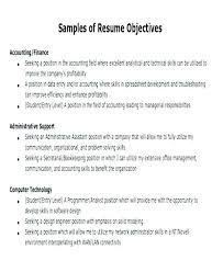 Samples Of Resume Objectives In Objective For