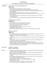 Download Finance Assistant Resume Sample As Image File