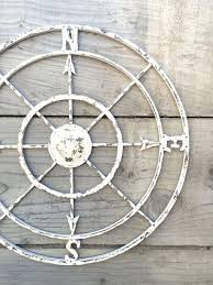 Nautical Compass White Wall Art Shabby Chic Decor Metal Rustic Wood