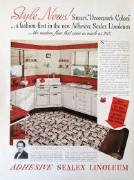 1937 Sealex Adhesive Linoleum Retro 1930s Red White Kitchen