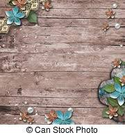 Old Wooden Background With A Flowers Pearls