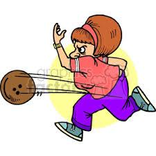 Royalty Free cartoon lady bowling vector clip art image