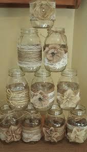Set Of 10 Mason Jar Sleeves Burlap Wedding Decorations Rustic Centerpieces And Lace Jars