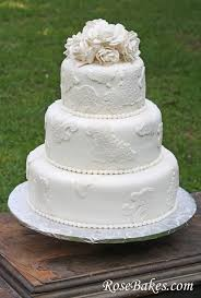 Ideas For Wedding Cake Vintage Lace With Sugar Roses