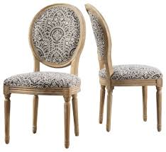 GDF Studio Hawthorne Black And White Patterned Fabric Dining Chairs, Set Of  2