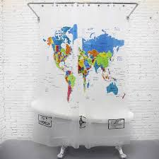 Unique World Map Funny Shower Curtains