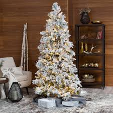 6ft Alaskan Flocked Christmas Tree by Lightly Flocked Snowbell Pine Pre Lit Full Christmas Tree Hayneedle