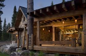 Delightful Rustic Home Design With Stone Wall And Wooden Ceiling Also Old Style Chair Decor Idea