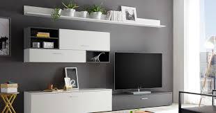 wohnwand new vision 6 wohnzimmer anbauwand weiss und grau