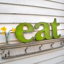 Eat Letter Sign Lower Case Letters Kitchen Wooden