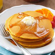Easy Healthy Pumpkin Pancake Recipe by Pumpkin Pancakes With Sweet Apple Cider Syrup Recipe Taste Of Home