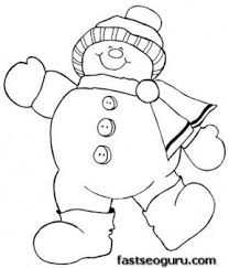 Christmas Happy Snowman Coloring Page Print