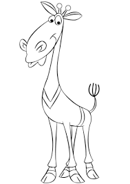 Cartoon Giraffe Wearing A Sweater Coloring Page
